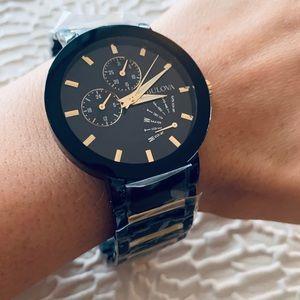 NWT Bulova Men's Futuro Blk/Gold Stainless Watch
